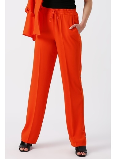 Random Kadın Beli Lastikli Bol Kesimli Pantolon Oranj